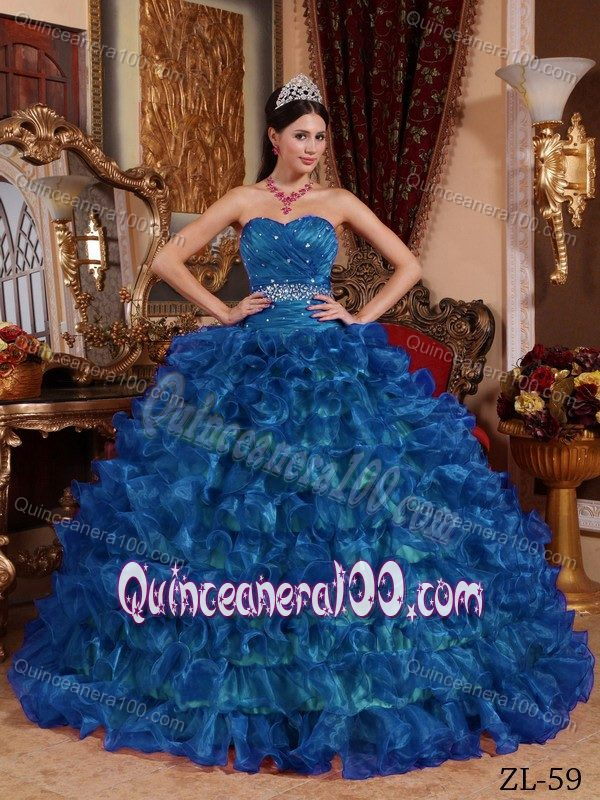 9ad6c27db01 Beading Ruffle Layers Full Skirt Quinceanera Dress Peacock Blue ...