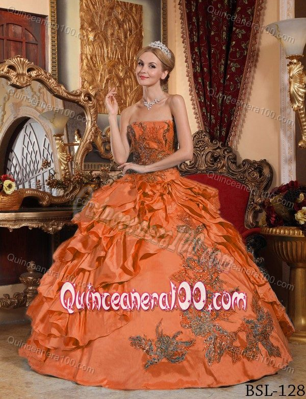 Strapless Embroidery Orange Ball Gown for Girls 15th Birthday ...