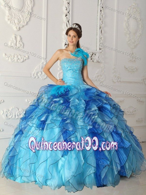 Two Toned Blue Dresses for A Quinceanera with Feather and Ruffles ...