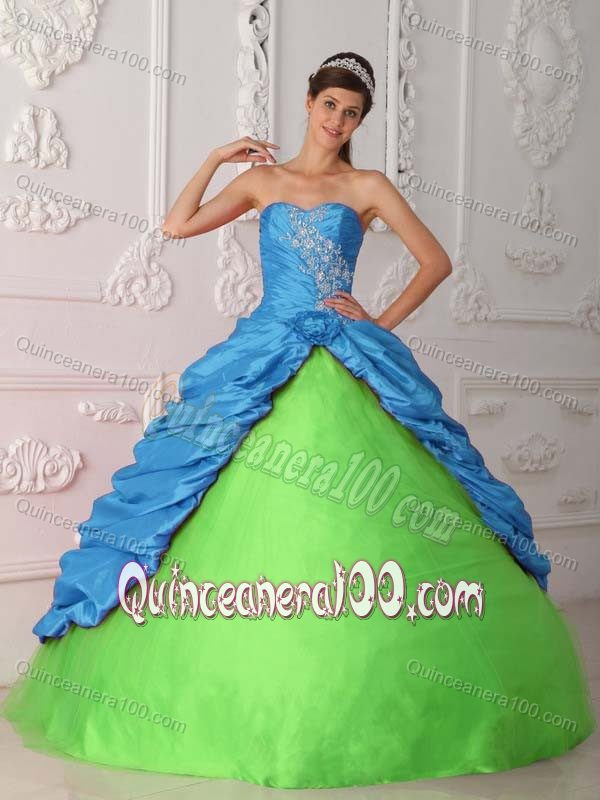 Appliques and Pick ups Accent Sweet 15 Dresses in Blue and Green ...