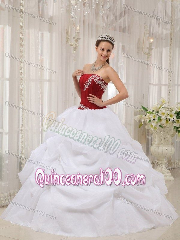 Red and White Sweet Sixteen Dresses with Appliques and Pick ups ...