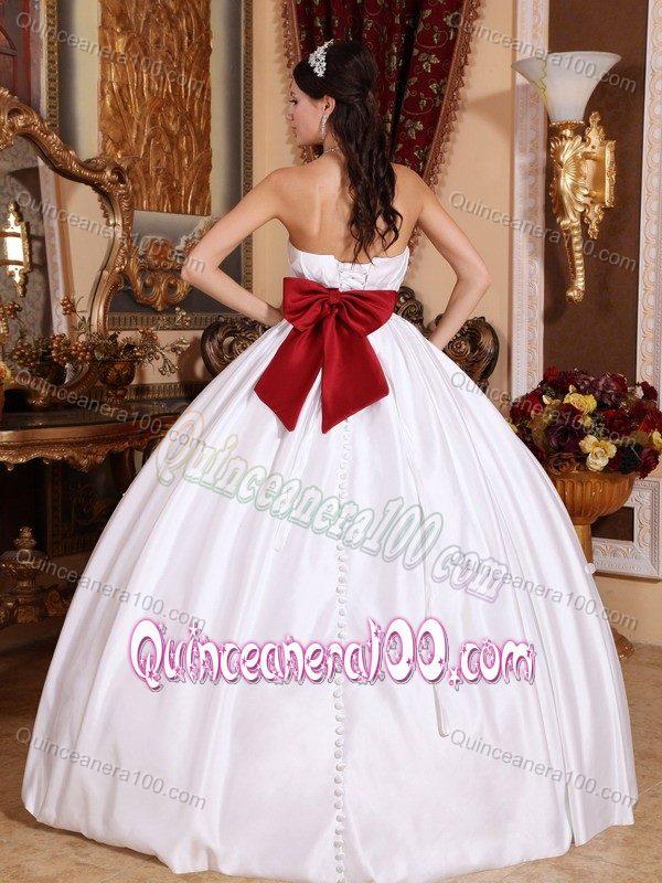 White Taffeta Strapless Sweet 15 Dresses with Beaded Red Belt ...