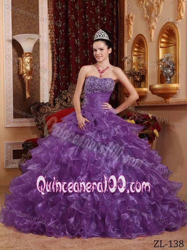Beaded Bodice Purple Quinceanera Gown Dresses with Puffy Ruffles ...