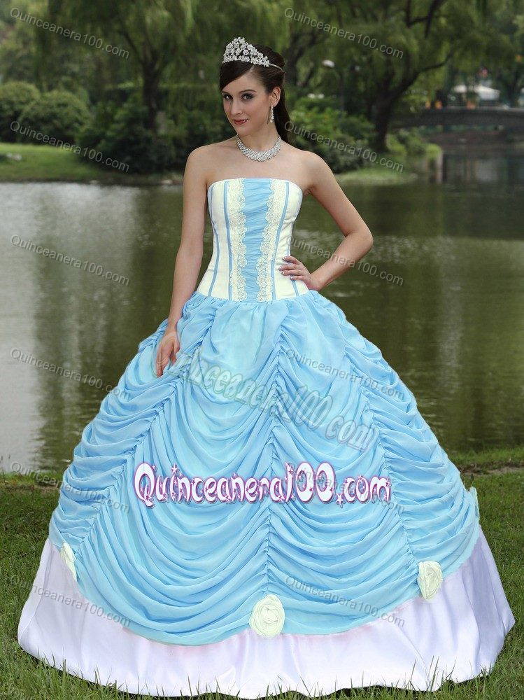 Plus Size Baby Blue and White Appliqued Quinceanera Dresses ...
