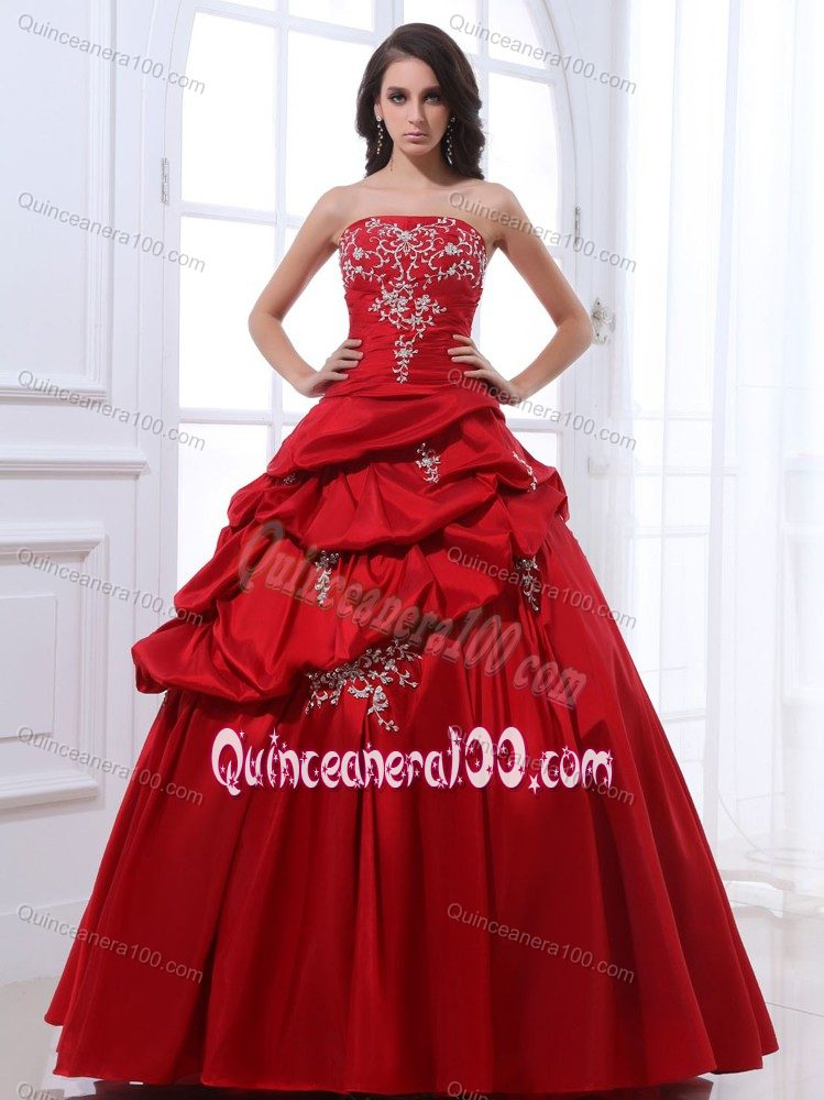 cbdf0d8329 Taffeta Wine Red Quinceanera Gown with Appliques Pick Ups ...
