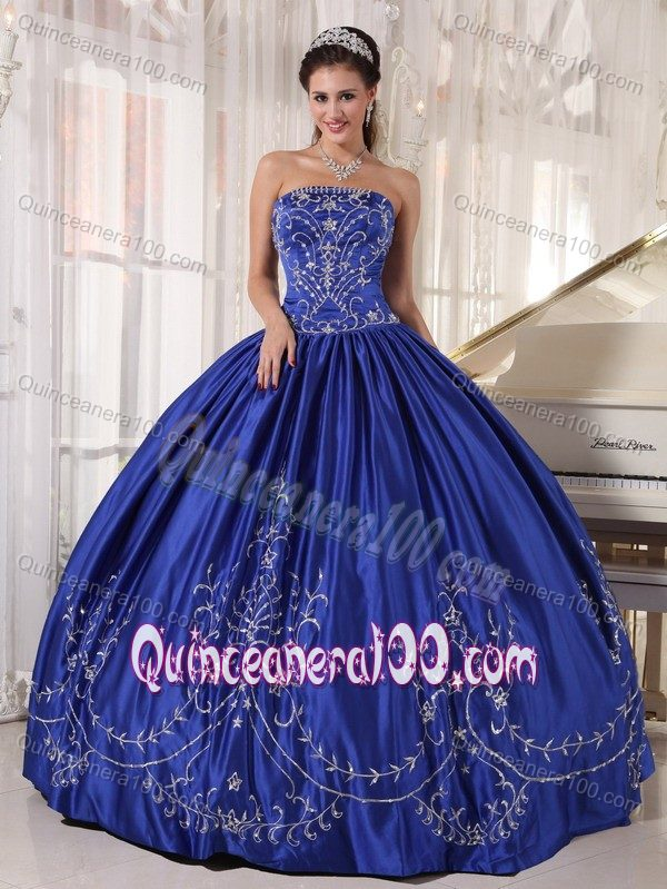 Royal Blue Ball Gown Strapless Sweet 15 Dress with Embroidery ...