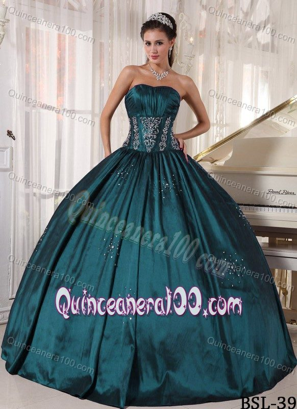 Teal Ruched Beaded Ball Gown Quinceanera Party Dress On Sale ...