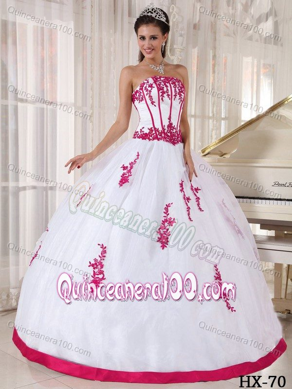 Unique White Organza Sweet 16 Dresses with Hot Pink Appliques ...