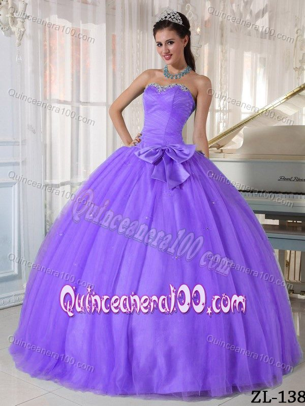 Purple Beaded Ball Gown Quinceanera Dress with Bowknot ...
