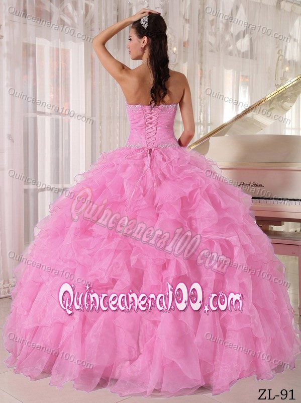 5eeda3bd2f3 2012 Hot Strapless Beaded Ruffled Baby Pink Dress for Quince ...