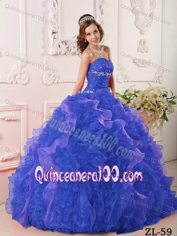 83ed51d353d Sapphire Blue Beaded Quinceanera Dress with Rolling Flowers ...