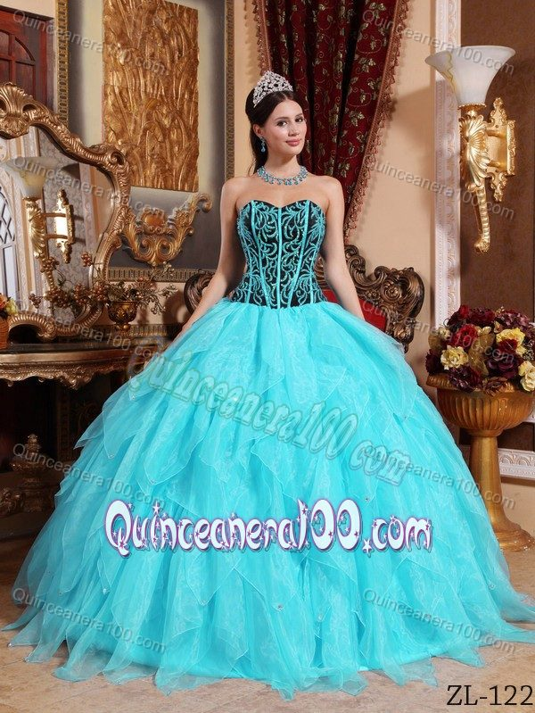 Aqua Blue Ruffled Quinceanera Party Dresses with Embroidery ...