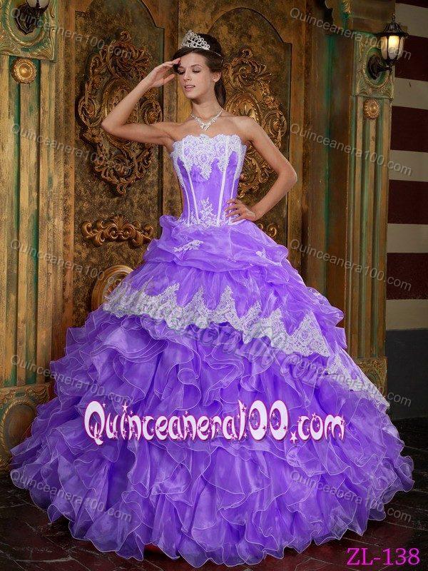 Elegant Strapless Ruffled Appliqued Purple Sweet 15 Dresses ...