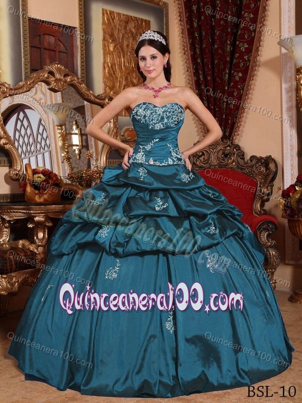 c7a248b6f39 Teal Taffeta Sweetheart Quinceanera Dress with Appliques and Pick-ups.  triumph