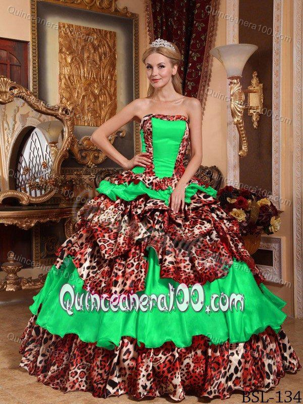 13eece9c1e Green Leopard Print Sweet Sixteen Quinceanera Dresses with Pick-ups. triumph