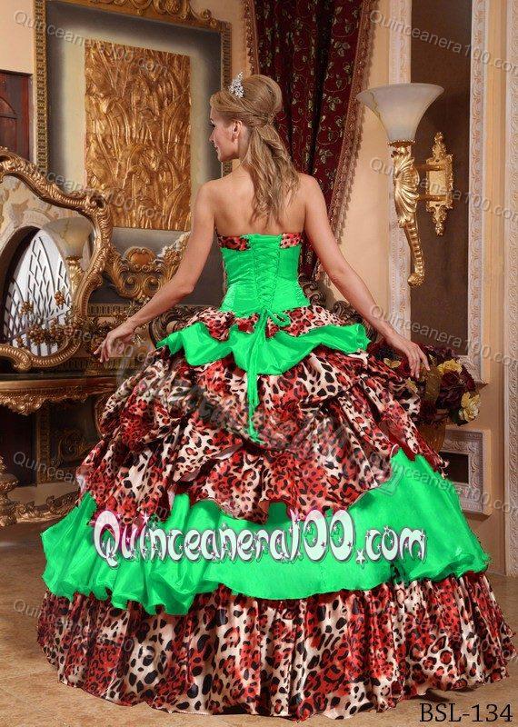 d060b9594c Green Leopard Print Sweet Sixteen Quinceanera Dresses with Pick-ups ...