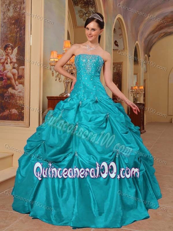Turquoise Sweet 16 Dresses with Beaded Decorate Bodice and and ...