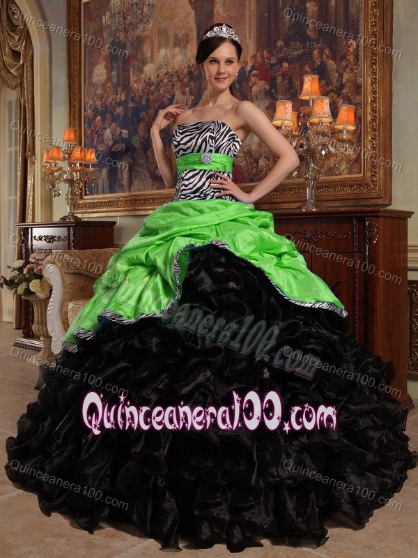 Green And Black Zebra Print Dress For Quince With Sash Ruffled