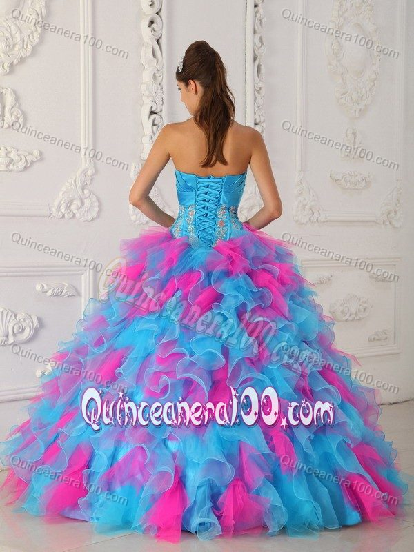 Blue and Pink Sweet 16 Quinceanera Dresses with Appliques and ...
