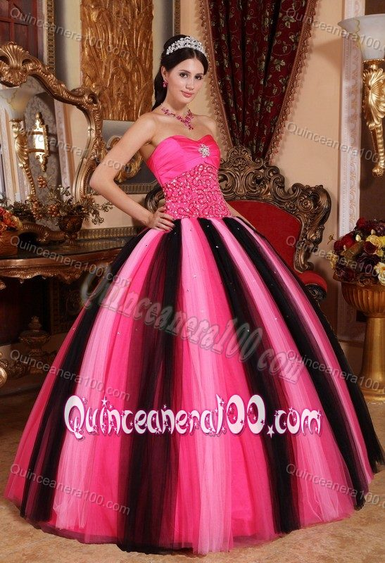 140a167d73d ... Hot Pink and Black Sweet Sixteen Quinceanera Dresses by Taffeta and  Tulle