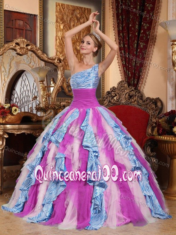 Multi-color Zebra Print Decorated Quinceanera Dress with One ...