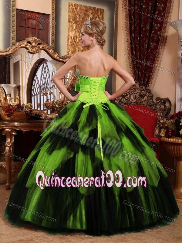 Neon Green and Black Quinceanera Gown with Bow and Ruffled Skirt ...