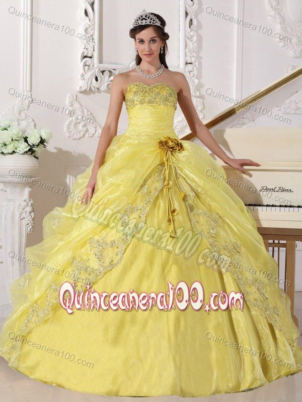 Yellow Ball Gown Quinceanera Dresses with Hand-made Flowers ...