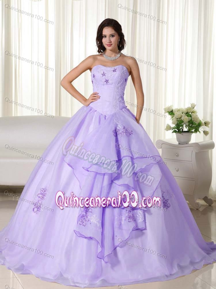 Lilac Ball Gown Strapless Sweet 16 Dresses with Embroidery ...