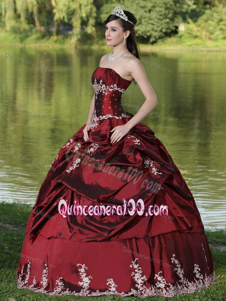 Noble Strapless Burgundy Sweet Sixteen Dresses With Pick