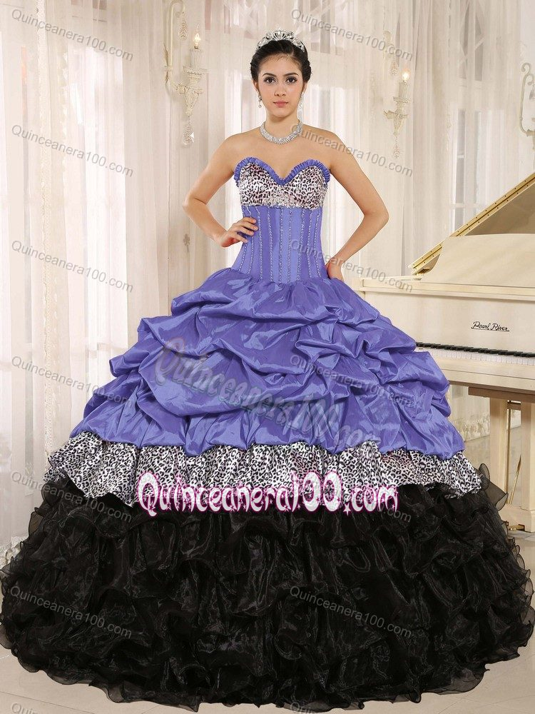 Purple and Black Sweetheart Quinceanera Dresses with Ruffles ...