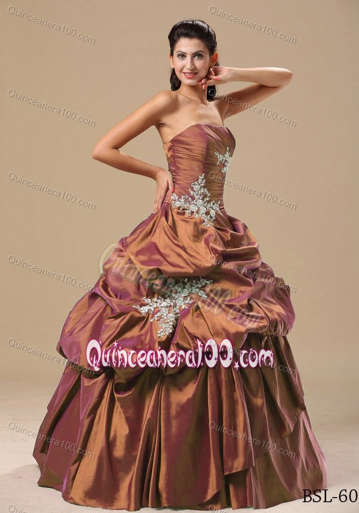 Bright Brown Ruched Appliqued Sweet Sixteen Dresses with Pick-ups