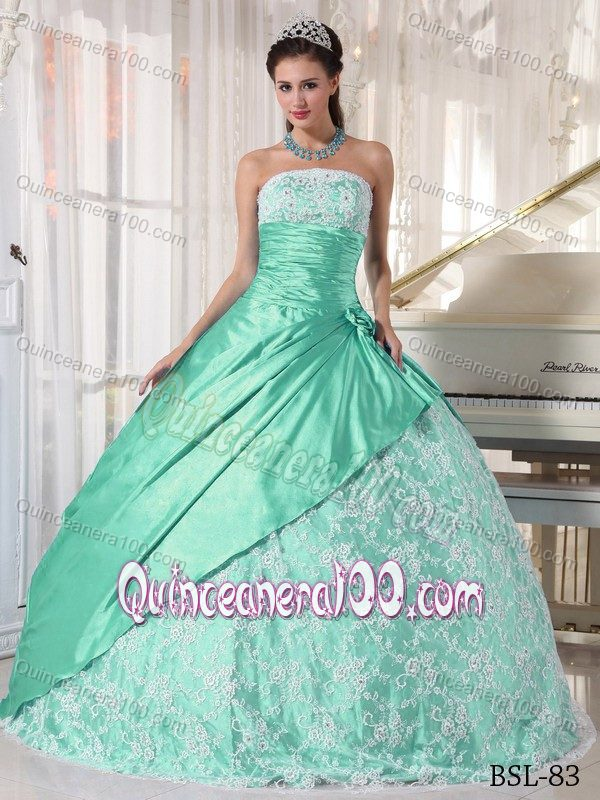 Mint Lace Decorate Quinceanera Dress with Ruches and Pleats ...