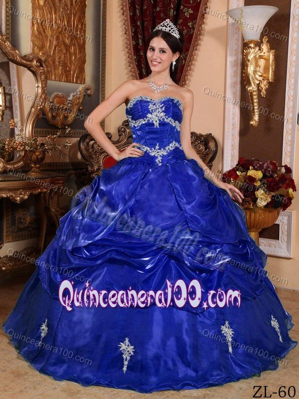 94b3ad5f69 Sapphire Blue Dress for Sweet 16 with Pick-ups and Appliques. triumph
