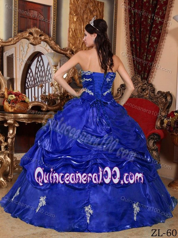 83e916c96f Sapphire Blue Dress for Sweet 16 with Pick-ups and Appliques ...