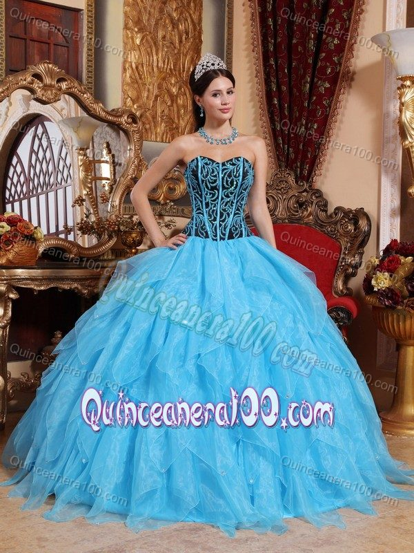 Sky Blue Beading Ruffled Dress for Sweet 16 with Lace up Back ...