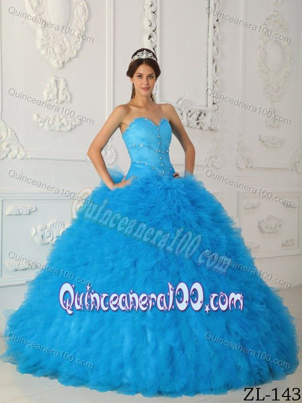 Britney Spears Beautiful Aqua Blue Sweetheart Beading Dress for Quince with Ruffles