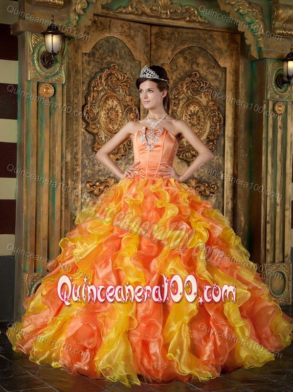 Orange and Yellow Sweet Sixteen Dresses with Appliques and Ruffles ...