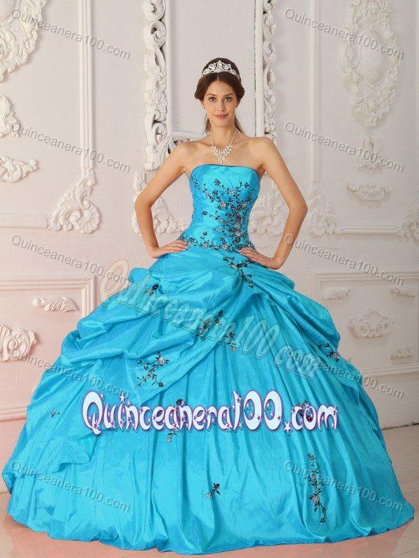 Aqua Blue Pick-ups Taffeta Quinceanera Gowns Dress with Appliques ...