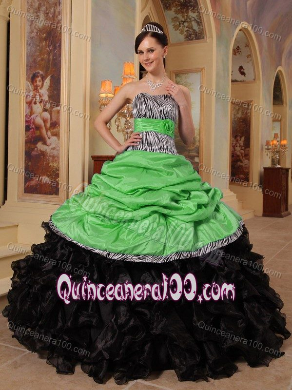98ef7827f4f Green and Black Quinceanera Gowns Dresses in Taffeta and Organza ...
