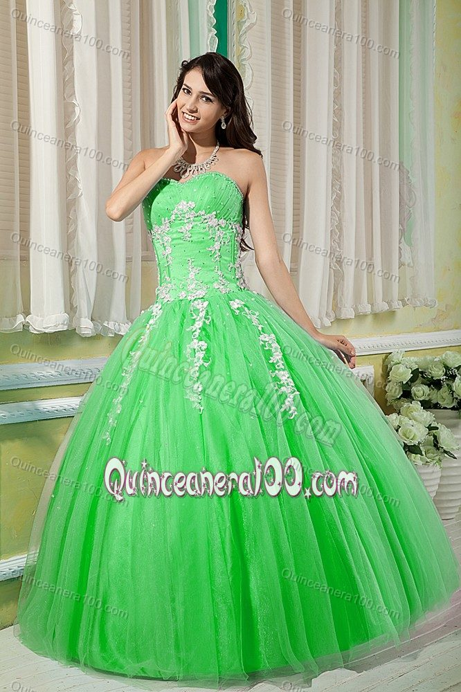 Spring Green Sweet 15 Dresses with Appliques and Beading in Tulle ...