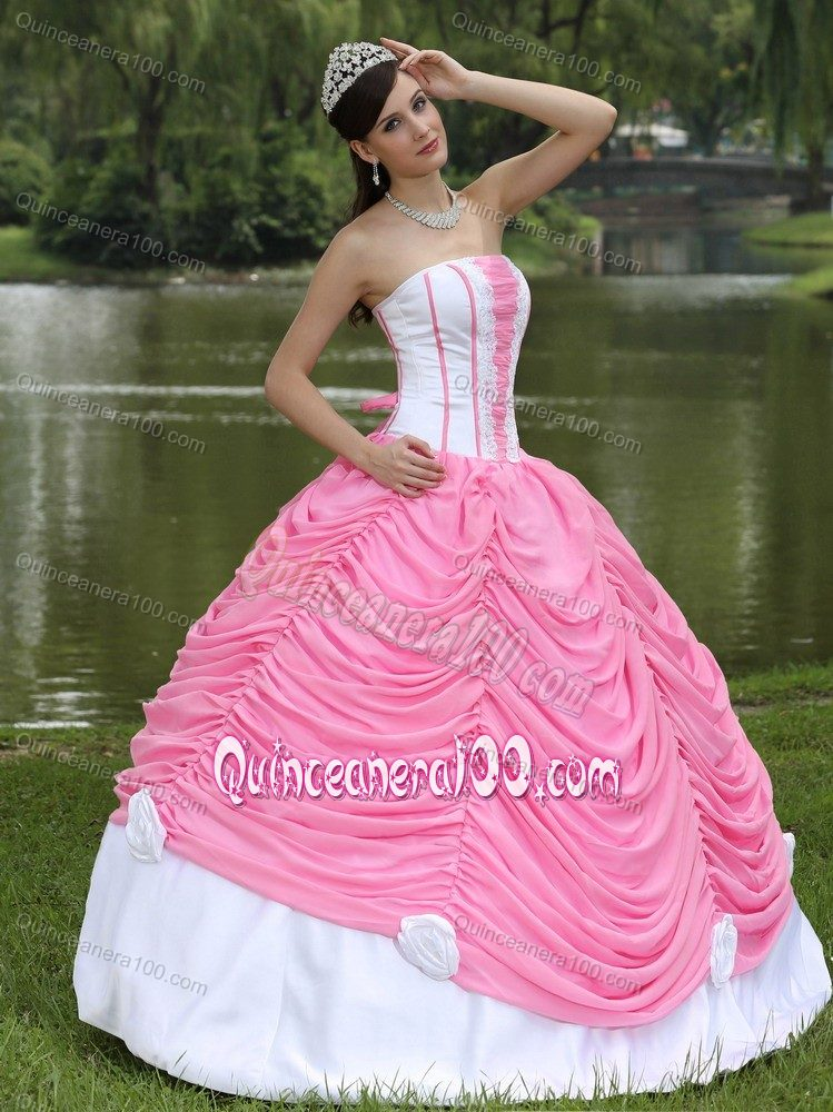 Pink and White Pick-ups Sweet 15 Dresses with Hand Made Flowers ...