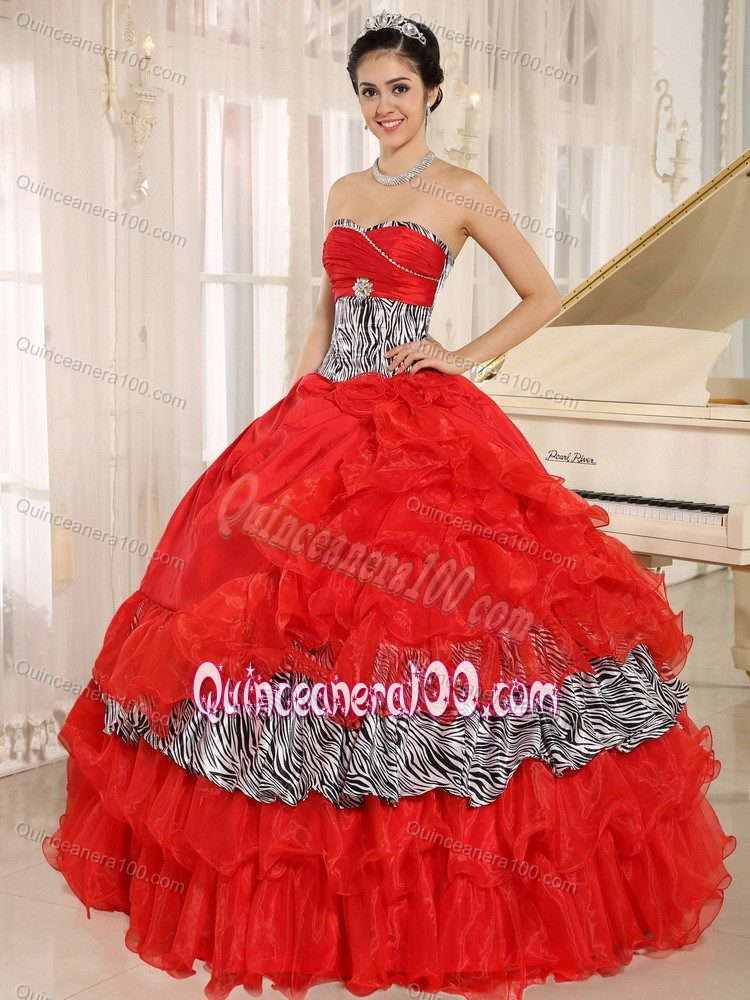 Coral Red Organza Dresses For Sweet 15 Sweetheart With
