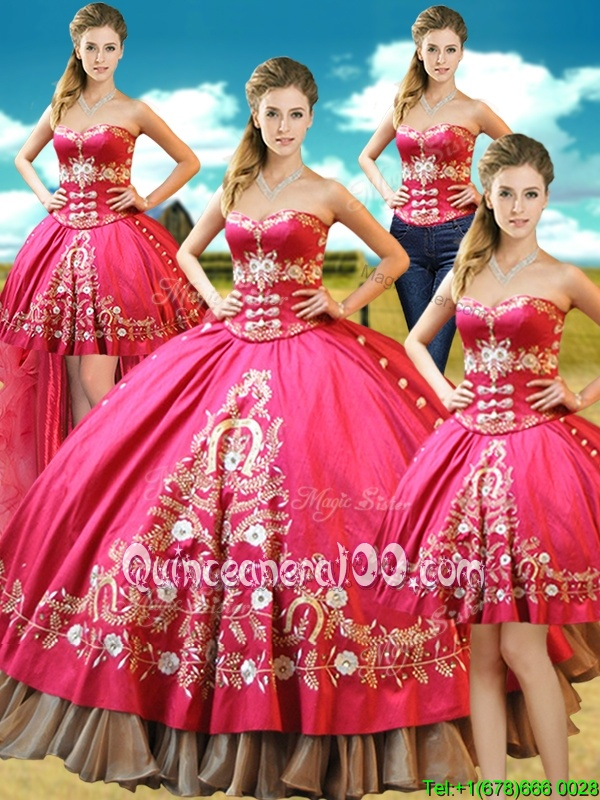 Stylish Four Piece Hot Pink Taffeta Lace Up Sweetheart Sleeveless Floor Length 15 Quinceanera Dress Beading and Embroidery