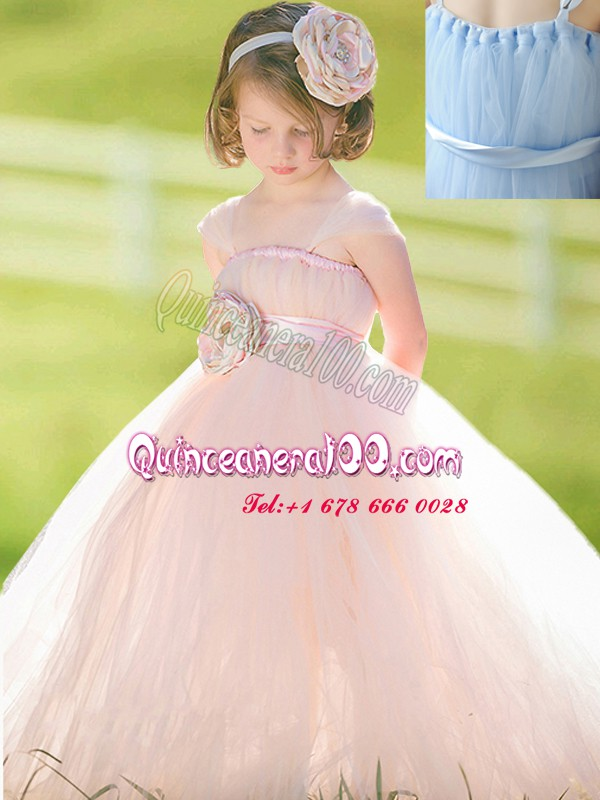 Chic Baby Pink Tulle Zipper Straps Sleeveless Floor Length Flower Girl Dresses for Less Bowknot and Hand Made Flower