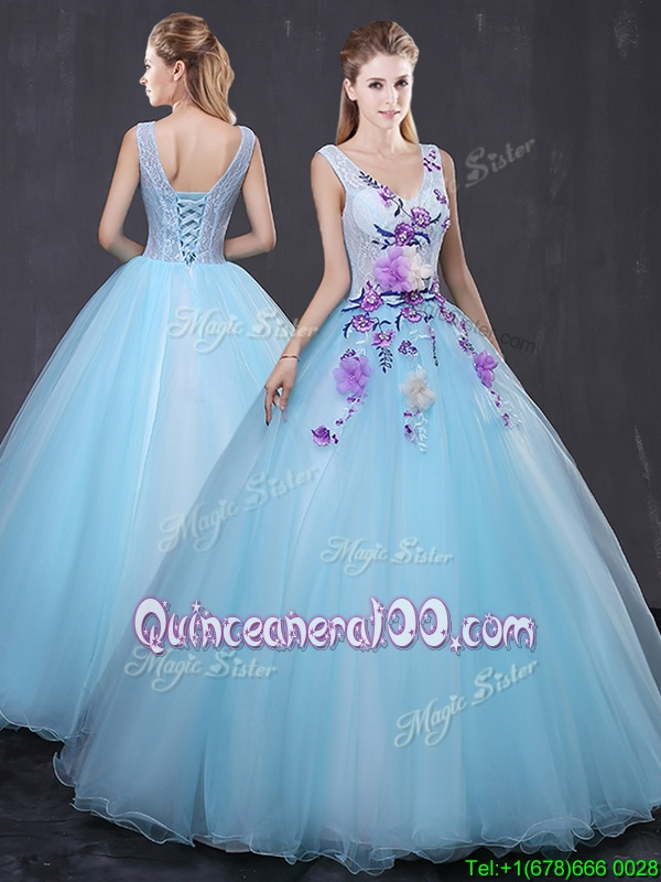 Lovely V-neck Sleeveless Lace Up Ball Gown Prom Dress Light Blue Tulle