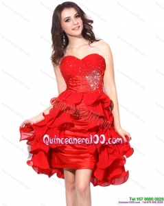 New Style Red Ruching Sweetheart Dama Dresses with Beading and Ruffles