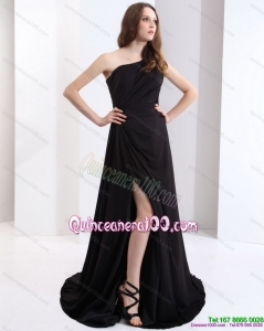 New Style 2015 One Shoulder Black Dama Dress with Ruching
