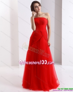New Style Strapless Floor Length Ruching Dama Dress in Red