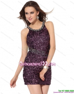 2015 New Style Bateau Mini Length Dama Dress with Sequins