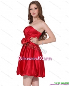 2015 New Style Strapless Bowknot Mini Length Dama Dress in Red
